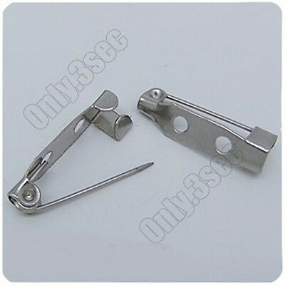 90 pcs 18KGP Dull Silver plated pin Brooch clasps Jewelry Findings 5mm×20mm P105