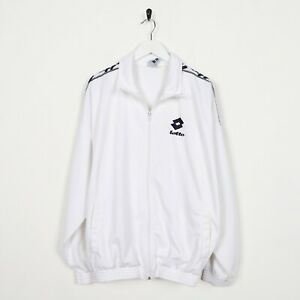 Vintage-90s-LOTTO-Small-Logo-Tape-Arm-Track-Top-Jacket-White-Large-L