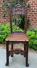 Antique French Gothic Renaissance Highly Carved Oak PETITE Desk Hall Chair Bench