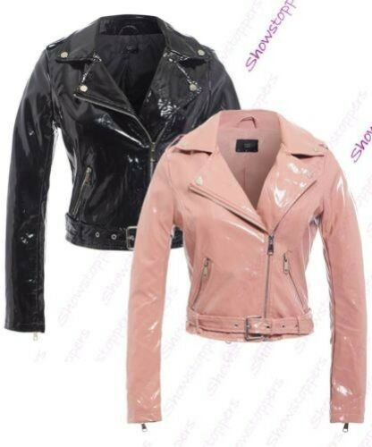 Womens Patent Biker Jacket Ladies Size 8 10 12 14 16 PU Black Pink New
