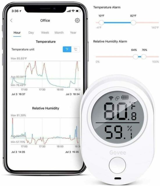 Govee WIFI Bluetooth Digital Temperature/Humidity Monitor Thermometer/Hygrometer