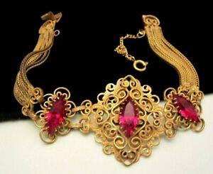 Rare-Vintage-7-034-x1-1-2-034-Signed-Hobe-039-Goldtone-Filigree-Red-Rhinestone-Bracelet-M8