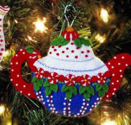 Bucilla TeaPots ~ 8 Piece Felt Christmas Ornament Kit #85018 Santa Snowman