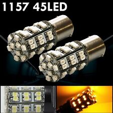 2x 1157 Amber Yellow 45-SMD Turn Signal, Reverse Light, LED Light Bulbs