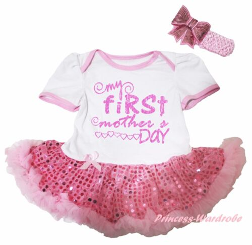 My First Mother Day White Bodysuit Pink Bling Sequins Girl Baby Dress Set NB-18M