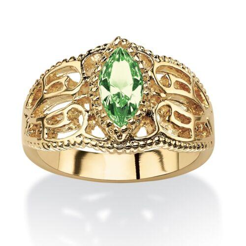 WOMEN MARQUISE CUT 14K GOLD FILIGREE AUGUST PERIDOT BIRTHSTONE RING 5 6 7 8 9 10