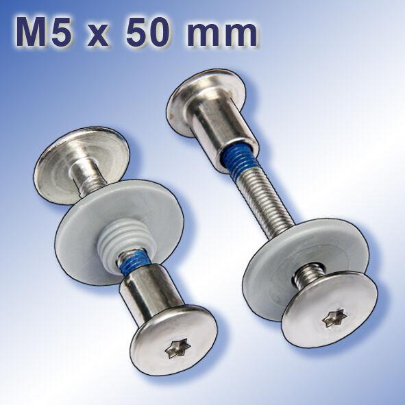 100 Sicherheits-Balkonschrauben-Set M5 x 50 mm V2A TRESPA Edelstahl A2 Schrauben