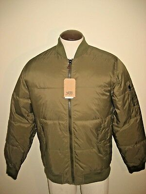be97c92c8 Vans Shoes Mens Strahorn Quilted Insulated Bomber Jacket Olive Green Free  Ship