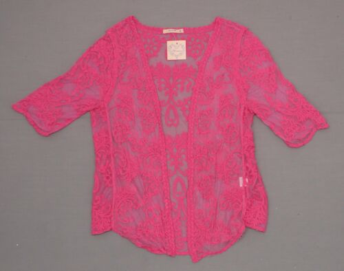 nWT Banana USA Ladies All Over Embroidered Open Front Blouse Shirt Top Shrug