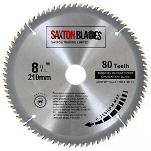 Saxton tct circular saw blade 210mm x 80t bosch makita dewalt fits image is loading saxton tct circular saw blade 210mm x 80t greentooth Gallery