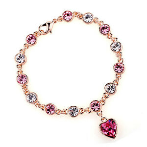 GORGEOUS-18K-GOLD-PLATED-amp-GENUINE-PINK-amp-CLEAR-CUBIC-ZIRCONIA-HEART-BRACELET
