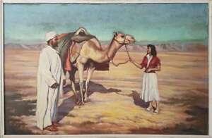 signee-Pierre-Dille-grande-peinture-orientaliste-Oriental-painting-voyage-color