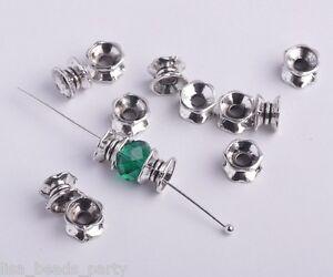 50pcs-7X4mm-Metal-Tibetan-Loose-Bracelet-Spacer-Beads-Jewelry-Making-Anti-silver