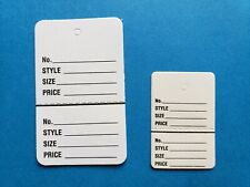 Coupon Price Tags White 2 Part Perforated Unstrung Large Small No String