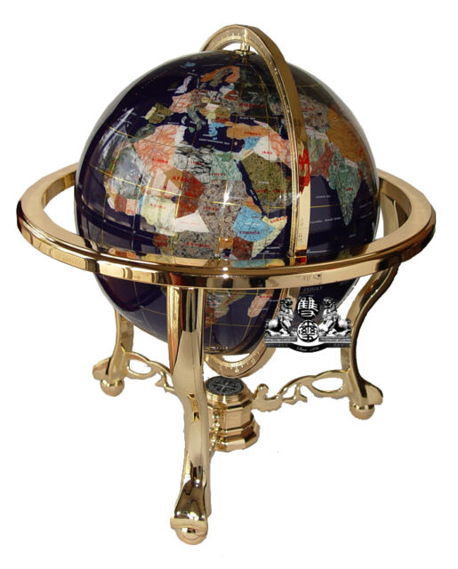 Unique art 21 inch blue lapis ocean table top gemstone world globe gold tripod unique 21 tall blue lapis tripod gold leg table gem gemstone world map globe gumiabroncs Image collections
