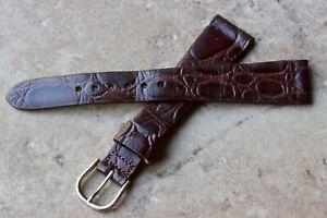 Steel-buckle-NOS-vintage-Gruen-watch-17-5mm-band-gator-grain-nice-texture-1950s