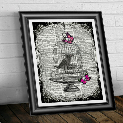 BIRDCAGE RAVEN AND PINK SKULL FLIES art print goth on ANTIQUE DICTIONARY BOOK