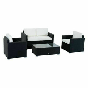 Magnificent Outsunny 4 Piece Cushioned Outdoor Rattan Wicker Sofa Sectional Patio Furniture Set 841 086 Unemploymentrelief Wooden Chair Designs For Living Room Unemploymentrelieforg