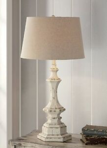 Shabby Cottage Chic Table Lamp French Country Distress Finish Hexagon Base 34 H Ebay