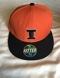 ed7194ae8d5 Team University of Illinois NCAA Zephyr Orange and Black Fitted Cap ...