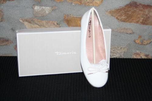 TAMARIS @ Damen Ballerina @ Dirndl Schuhe @ Tracht @ weiß Lack @   36-41
