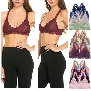 37e31cda74 Image is loading Womens-Gorgeous-Bra-Racerback-Lace-Bralette-Bustier-Bra-