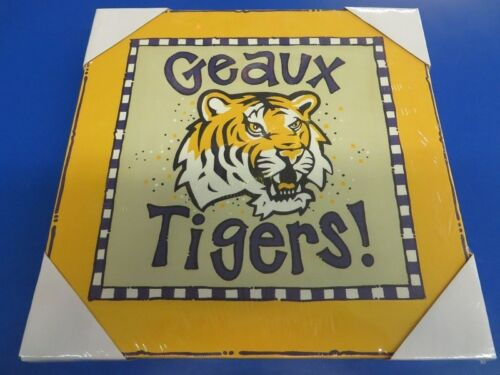 "LSU Geaux Tigers Logo Canvas NCAA College Print Art Poster Wall Decor 12/""x12/"""