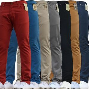 BNWT-NEW-MENS-ENZO-SKINNY-SLIM-FIT-CHINOS-JEANS-PANTS-TROUSERS-ALL-WAIST-amp-SIZES