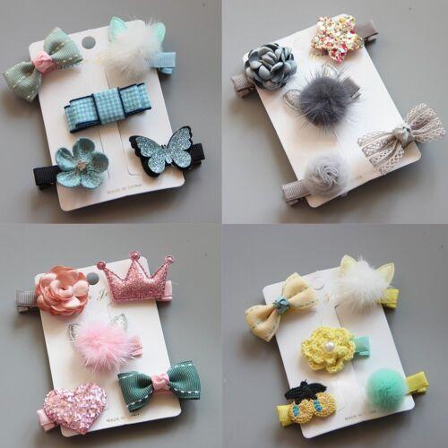 5x Kinder Säugling Haarnadel Baby Mädchen Haar Clip Bogen Blume Barrettes P I2L5
