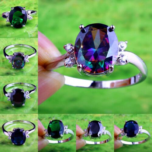 Fangle rainbow Topaz /& Noir Spinelle Pierres Précieuses anneaux argentés Taille 6 7 8 9 10 11 12