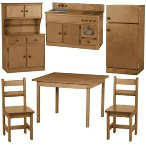 Image Is Loading 6pc WOOD KITCHEN PLAY SET Preschool Toy Furniture