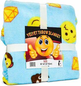 "Emoji Throw Blanket, Soft Blue Velvet Emoji Blanket for Girls and Boys 50""x60"""