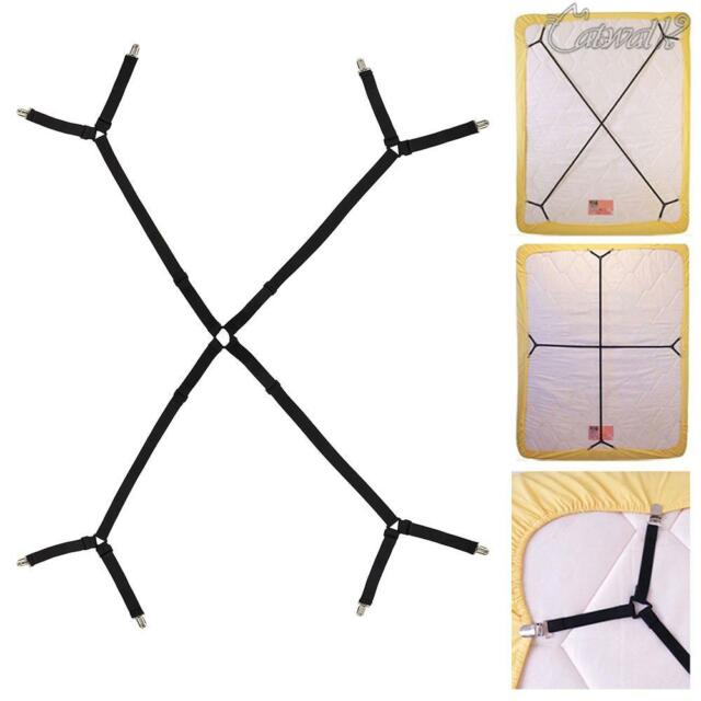 Crisscross Bed Fitted Sheet Straps Suspenders Gripper Holder Fastener Adjustable