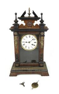 Antique 19th Century Art Nouveau Brass Figural Cherubs Wood Mantle Clock
