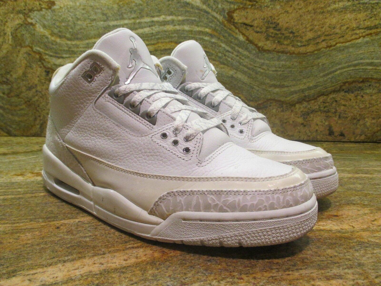 2007 2007 2007 Nike Air Jordan 3 III Retro SZ 9 Pure Money Weiß Silber OG LS 136064-103 020d03