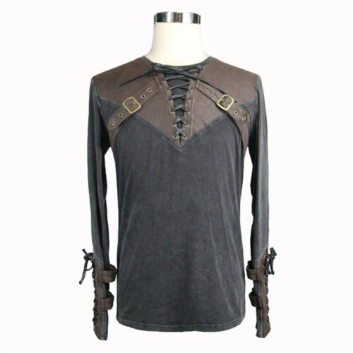 Devil Fashion Men Long sleeves T-Shirt Leather Shirts Gothic Steampunk Top Rock