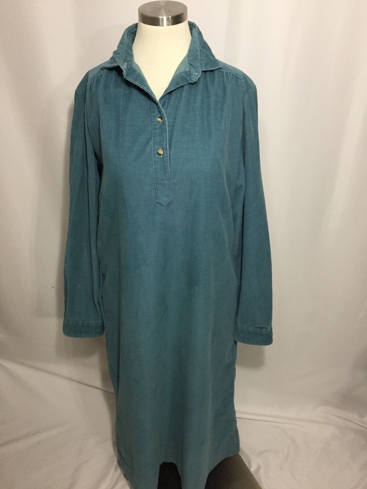 L.L. Bean Teal bluee Corduroy Henley Dress Long Sleeve 14 Excellent VTG RARE