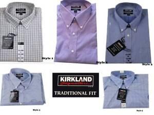 NWT Men/'s Kirkland Signature Traditional Fit Non-Iron Long Sleeve Dress Shirt