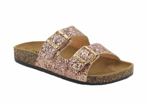 Womens Glitter Open Toe Double Buckle Slide Cork Platform Flat Sandal Flip Flop