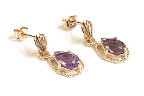 9ct Gold Amethyst Teardrop Ornate Earrings Gift Boxed Made in UK