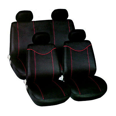10 PCE BLACK AND RED CAR SEAT COVERS RACING STYLE COVER SET - AIRBAG FRIENDLY
