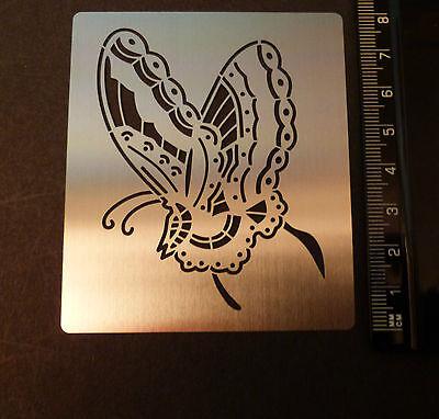 Stainless//Steel//stencil//Oblong//Ornate//Butterfly//Emboss//Oriental//PRETTY