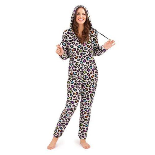 New Ladies Girls SuperSoft Fleece Onese Sleepsuit Loungewear Zip Front Leopard