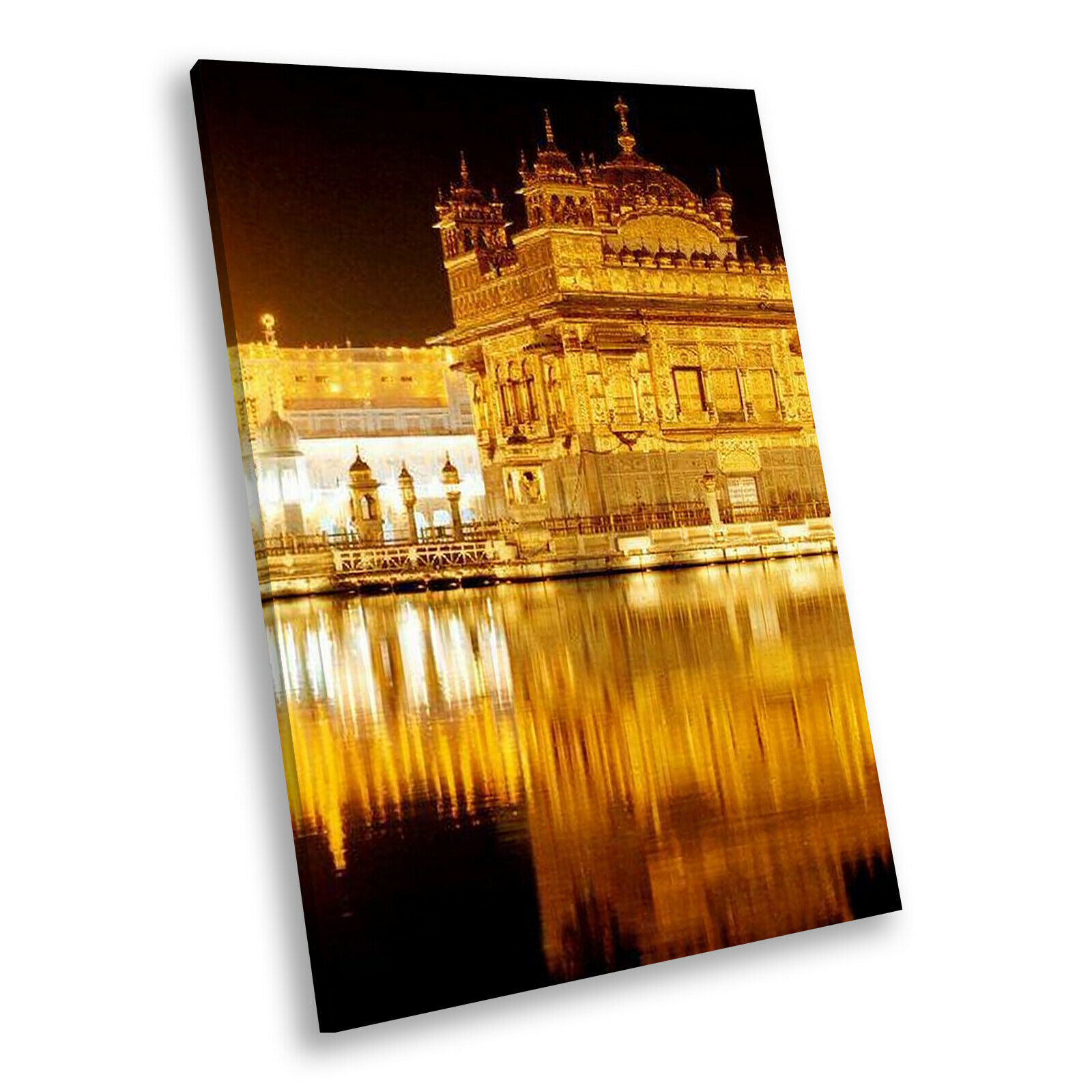 Gold Temple Night Sunset Portrait Scenic Canvas Framed Art Large Picture