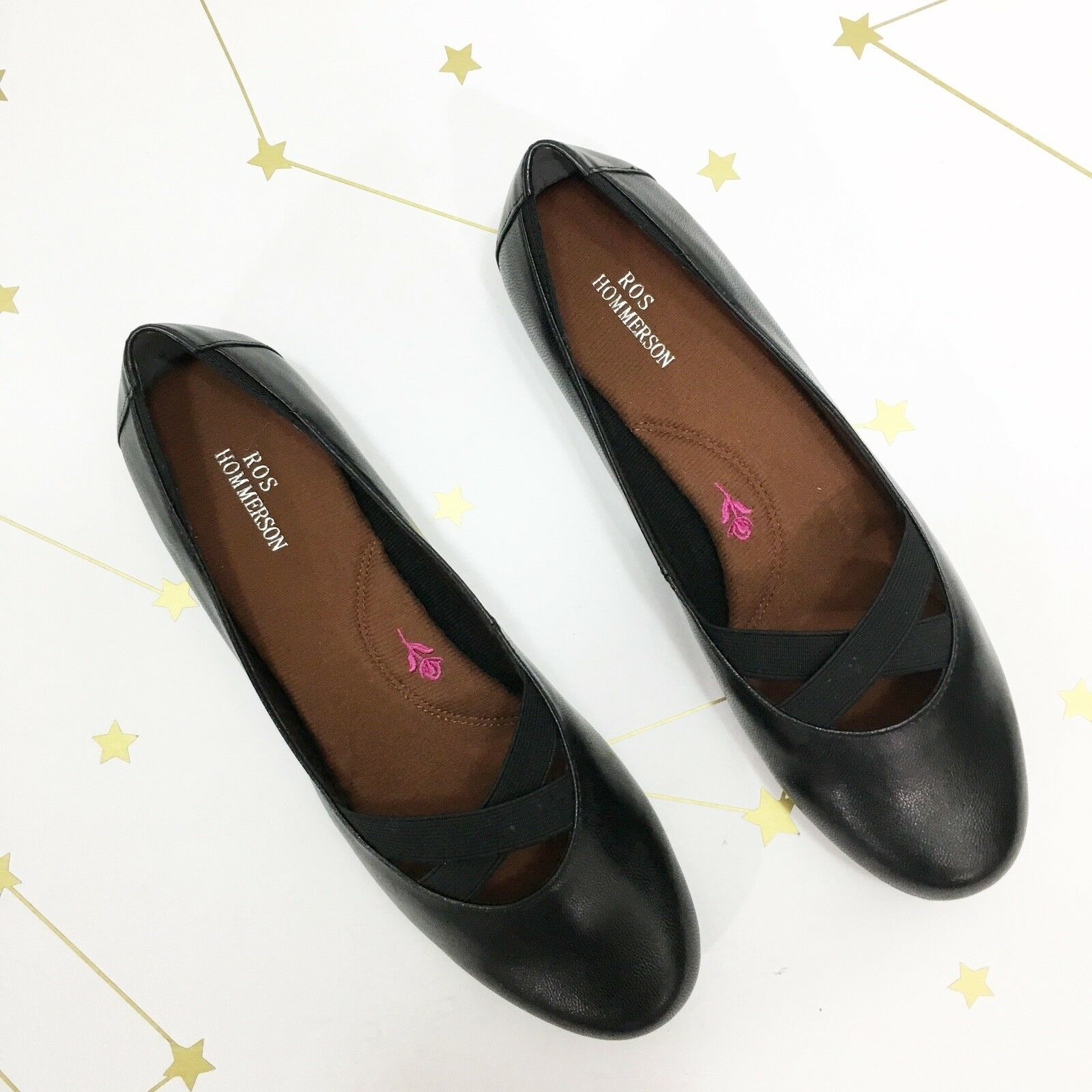 Ros Hommerson Flats Size 7 Narrow Black Leather Kidskin Ballet Round Toe Comfort