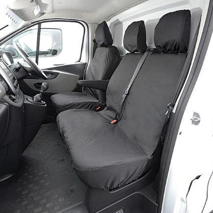 SINGLE HEAVY DUTY BLACK SEAT COVER PROTECTOR FOR RENAULT TRAFIC 2015