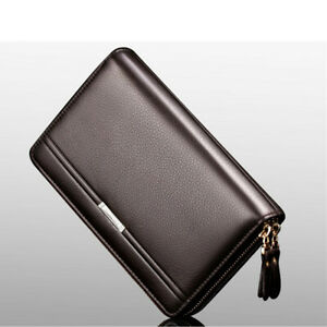 Men-Leather-Business-Organizer-Clutch-Handbag-Wallet-Purse-Zipper-Holder-Bag