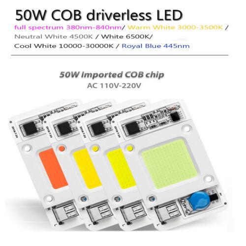 50W 110V 220V LED COB Chip Lamp Floodlight Smart-IC Bulb Bead Warm//Cold White