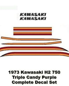 Details about kawasaki h2 750 1973 triple complete decal set candy