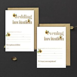 WEDDING-INVITATIONS-BLANK-MOCHA-WATERCOLOUR-amp-SUNFLOWER-DAY-amp-EVE-PACKS-OF-10